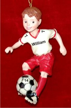 Male Brunette Soccer - Personalized Sports Ornament for Boys