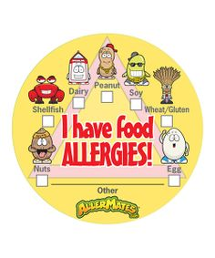 These colorful and quirky stickers are the perfect way to remind little ones and caregivers of food allergies. Moms will no longer worry and others will be fully aware when these are in sight at school, camp and day care. Includes 48 stickers2'' diameterAdhesiveImported