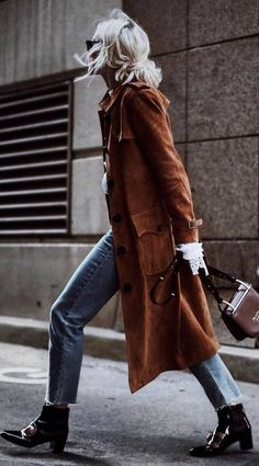 fall inspiration / brown coat   jeans   boots   bag