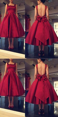 Charming Prom Dress,Satin Prom Dress,Ankle Length Prom Dress,Backless Short Prom Dress P825