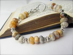 Lace Agate Bracelet bright crazy lace agate gemstone by twobadcats