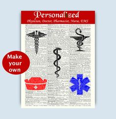 Pharmacist, Physician, Nurse, EMS, Paramedic, Cardiology, Ophtalmology, Medical art, Make your own Print, PERSONALIZED Print,Graduation Gift by DicosLand on Etsy