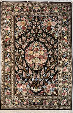Tree of Life Qum Silk Persian Rug - Item# DA-1810  Size: 132 x 204 (cm)      4' 3 x 6' 8 (ft)