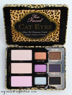 too faced cat eyes open palette and like OMG! get some yourself some pawtastic adorable cat apparel! Pale Skin Makeup, Cat Eye Makeup, Contour Makeup, Eye Makeup Tips, Beauty Makeup, Makeup Tools, Makeup Ideas, Too Faced Palette, Eye Palette