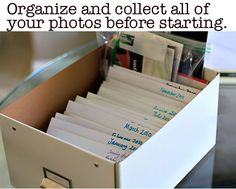 Tips for Organizing Family Photos via lilblueboo.com- GREAT tutorial on organizing a yearly photo album!