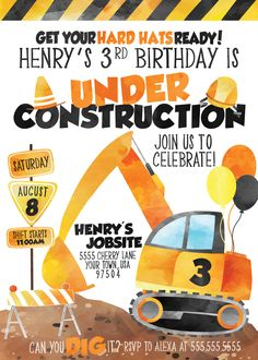 Under Construction Birthday Party Invitation Under Construction Birthday Party Invitation Under Construction Birthday Party Invitation<br> 50th Birthday Party Decorations, Kids Birthday Party Invitations, Watermelon Birthday Parties, 4th Birthday Parties, Tractor Birthday, Boy Birthday, Birthday Ideas, Construction Birthday Parties, Construction Party Decorations