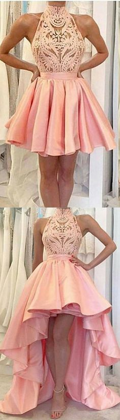 A-Line High Neck Sleeveless Short Pink Satin Homecoming Dress with Lace Homecoming Dresses High Low, Hoco Dresses, Dance Dresses, Formal Dresses, Unique Dresses, Simple Dresses, Elegant Dresses, Pretty Outfits, Pretty Dresses
