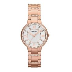 Fossil Women's Virginia Rose Gold-tone Stainless Steel Bracelet Watch In Rose Gold/ White/ Rose Gold Virginia, Stainless Steel Watch, Stainless Steel Bracelet, Couleur Or Rose, Rose Watch, Gold Armband, Fossil Watches, Women's Watches, Wrist Watches