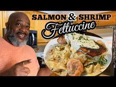How to make Blackened Salmon & Shrimp Fettuccini! (Oven Style & EASY!) | Deddy's Kitchen - YouTube