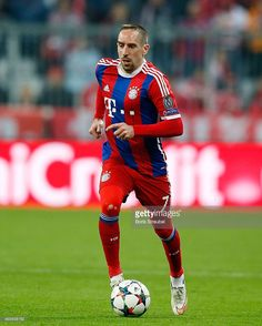 Franck Ribery of Muenchen runs with the ball during the UEFA Champions League Round of 16 second leg match between FC Bayern Muenchen and FC Shakhtar Donetsk at Allianz Arena on March 11, 2015 in Munich, Germany.