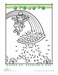 """Say """"Happy Saint Patrick's Day!"""" to your student with this March dot-to-dot. What surprises does this pot o' gold hold? Connect the dots to find out! St Patrick Day Activities, Spring Activities, 1st Grade Worksheets, Seasons Worksheets, St Patricks Day Crafts For Kids, March Themes, St Paddys Day, St Pats, School Fun"""