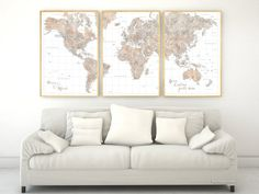 """Custom quote - highly detailed world map printable in neutral watercolor, set of 3 split panels in 24x36"""" each"""