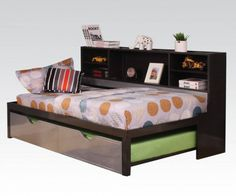 Renell Youth Black Silver Metal Wood PU Twin Bed w/Bookcase