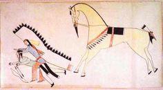 Native American Quillwork On Oklahoma Straight Dance | Ledger Book Drawing - Cheyenne Ledger Art