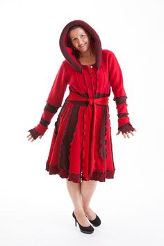 Wool sweater coat Red stone Katwise style by Melinmade on Etsy, $299.00