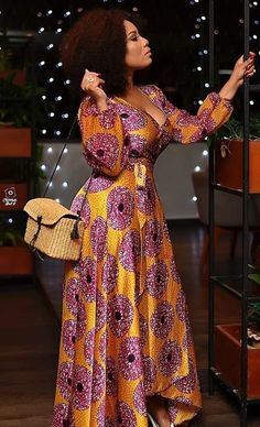 Maxi wrap dress, silky wrap dress, classy wrap dress, celebrity wrap dress Beautiful maxi dress made and shipped from Houston Texas with great quality fabrics. African Maxi Dresses, Latest African Fashion Dresses, African Dresses For Women, African Print Fashion, African Attire, African Wear, African Prints, African Women, Ankara Fashion