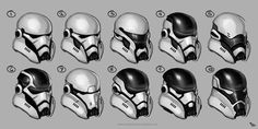 "Stormtroopers by suburbbum - almost all of these designs are better than the current Force Awakens ""motorcycle helmet"" designs"
