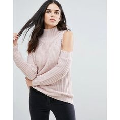 Love & Other Things Cold Shoulder Jumper ($28) ❤ liked on Polyvore featuring tops, sweaters, pink, cut out shoulder sweater, cold shoulder jumper, cold shoulder tops, cut shoulder tops and high neck top