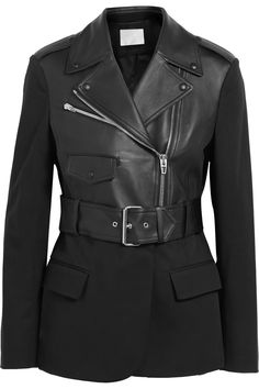 Alexander WangLeather and cotton-blend jacketfront