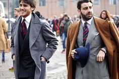 Look the best you possibly can in a grey overcoat and a dark blue striped double breasted blazer.  Shop this look for $364:  http://lookastic.com/men/looks/white-dress-shirt-red-and-navy-tie-navy-double-breasted-blazer-grey-overcoat/7800  — White Dress Shirt  — Red and Navy Vertical Striped Tie  — Navy Vertical Striped Double Breasted Blazer  — Grey Overcoat