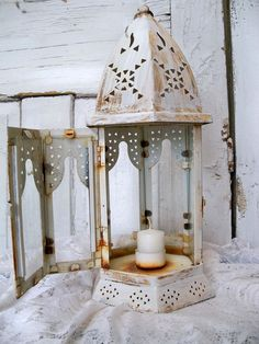 White distressed shabby chic lantern hand by AnitaSperoDesign, $60.00