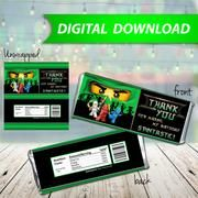Ninjago Lloyd green Candy Bar Wrappers, Hershey Bar Wrappers, party favor - PRINTABLE INSTANT DOWNLOAD