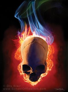 Skull Fire. Painted on a metal panel using Createx Wicked Paint.