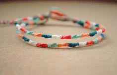 Items similar to Peachy Aqua Double Chinese Staircase Friendship Bracelet on Etsy Yarn Bracelets, Diy Bracelets Easy, Embroidery Bracelets, Summer Bracelets, Bracelet Crafts, Ankle Bracelets, String Bracelets, Gold Bracelets, Diy Bracelet Boho