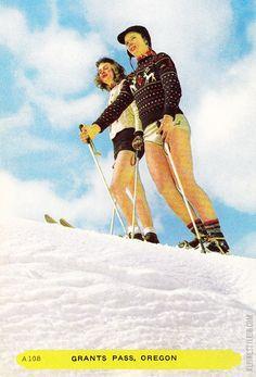 Grants Pass, Oregon - vintage postcard, skiing in shorts.