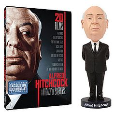 Sculpted resin bobblehead portrays the gifted Master of Suspense.