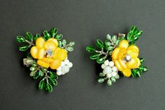 2 pcs Floral Hair Clip for Wedding, Bridesmaid Flower Accessories, Bright Yellow Jewelled and Beaded Hair Pin - Maya