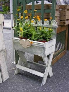 By The Cottage Door - Planters (Maybe make with pallet wood and a window box? Flower Planters, Garden Planters, Garden Art, Window Planters, Window Boxes, Fall Planters, Herb Garden, Rustic Planters, Outdoor Projects