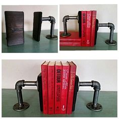 Industrial bookends with burned wood #make #imake #diy #rustic #unique #homemade #handmade #industrialfurniture #industrial #books #booklover #bookends #forsale #shopsmallbusiness #wood #burnedwood