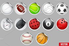 Round Stickers with sport balls and equipment. by Vitamin on @creativemarket