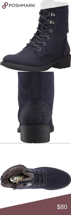 """Circus By Sam Edelman lace up boots Lace up bootie with hiker trend and contrast toe Features Man Made Imported Synthetic sole Shaft measures approximately 6.5"""" from arch On trend hiker style Color: dark navy Circus by Sam Edelman Shoes Combat & Moto Boots"""