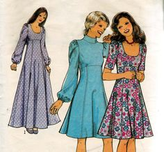 Vintage Sewing Pattern 1970s Dress & Maxi  by allthepreciousthings, $9.50