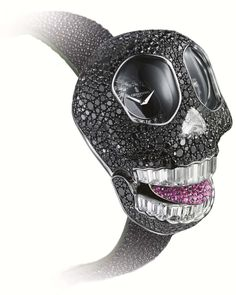 The new de GRISOGONO Crazy Skull watch features a snow-set skull with 890 black diamonds and 7.70ct of baguette-cut teeth, which smile to reveal either a ruby or pink sapphire encrusted tongue.