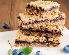 Say hello to tomorrow's breakfast. These healthy snack bars are made with fiber-rich oats and antioxidant-packed blueberries, yet they taste just like a crumble dessert!