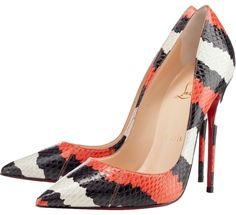 Christian Louboutin Black Orange White Python Leather Snakeskin So Kate 36 6 Red Pumps. Get the must-have pumps of this season! These Christian Louboutin Black Orange White Python Leather Snakeskin So Kate 36 6 Red Pumps are a top 10 member favorite on Tr