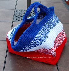 Big Striped Bag - free 4th of July crochet patterns