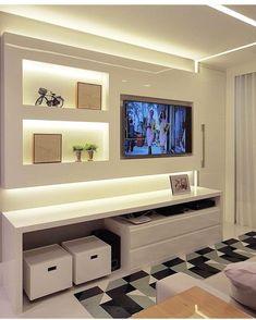 home theater planejado home thea - home Home Decor Inspiration, Room, Sala, Interior, Home, Tv Decor, Tv In Bedroom, Home Tv, Living Room Designs