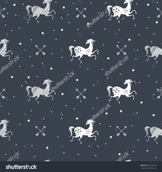 Stylish seamless pattern with running horses and dots in black, white colors. Vector trendy fashion illustration. Works well as wrapping paper, textile, fabric print, background. Animal vintage design