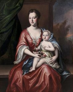 "A Very Fine and Large 18th Century Oil on Canvas Titled ""Mother and Child"" (Probably members of The Swedish Royal Family). Attributed to Michael Dahl (Swedish, 1659-1743), depicting a young mother holding her infant child on her lap with a floral bouquet, within a later gildwood and gesso frame. Unsigned - Relined. Circa: 1730-40."