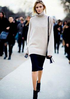 O tricô te mantém quentinha no inverno, e o modelo gola alta nunca esteve tão in!   Foto: Fashion Tatt / Reprodução