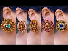 5 easy Stud Earring Design   DIY   5 min Craft   Hand made jewelry   Art with Creativity - YouTube