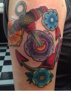 Anchor and flowers tattoo by Brandy Pouliot at Twisted Anchor Tattoo in Ocean Springs, Mississippi