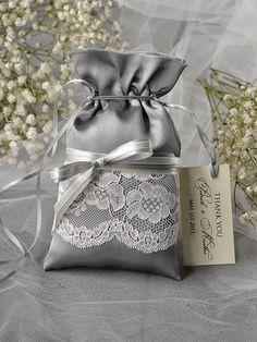 Custom listing (20) Lace Wedding Favor Bag,Grey Wedding Favour Bag, Lace Wedding Favour Bags, Vintage,