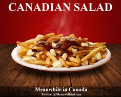 Salad is no where near as delicious as poutine as does not fit around an image of its superior.