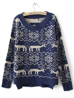 Blue Long Sleeve Deer Print Asymmetrical Sweater