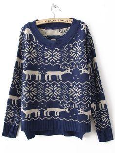 {blue deer + snowflake pattern sweater} adorable